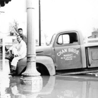 Chan Bros. Market Truck in Flood of 1955, Visalia, Calif.