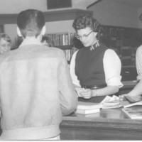 Checkout Time, Visalia Public Library, Visalia, Calif., 1958