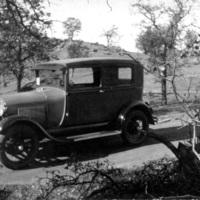 car on road to Stony Brook, closeup