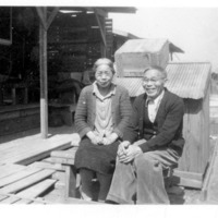 Mr. and Mrs. Tagawa at Rohwer Relocation Center, Desha County, Arkansas