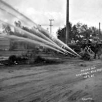 Coalinga Fire Department doing a hose pressure test on February 7, 1925.