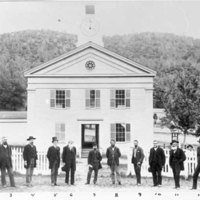 Courthouse and county officials, Mariposa, 1880s